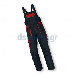 Φόρμα με τιράντες, Νο54 βαμβακερή, Μαύρη/Κόκκινη