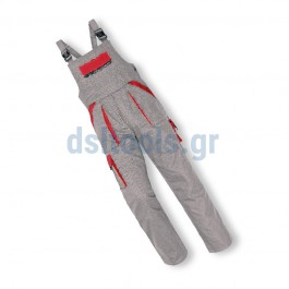 Φόρμα με τιράντες, Νο54 βαμβακερή, Γκρι/Κόκκινο